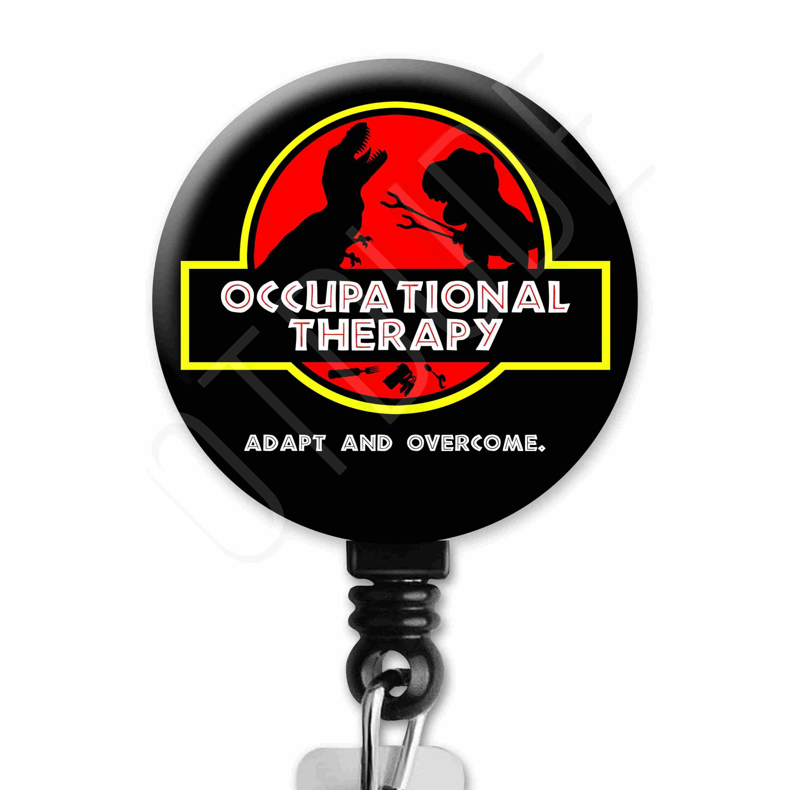 Adaptive Equipment T-Rex Dinosaur Occupational Therapy Badge Reel