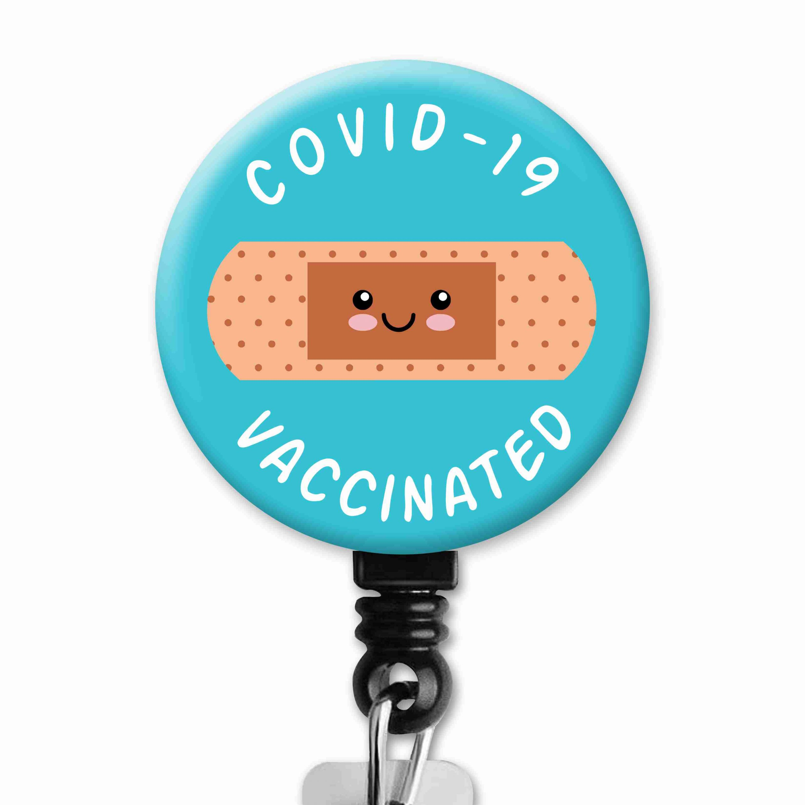COVID-19 Vaccinated Bandaid Occupational Therapy Badge Reel