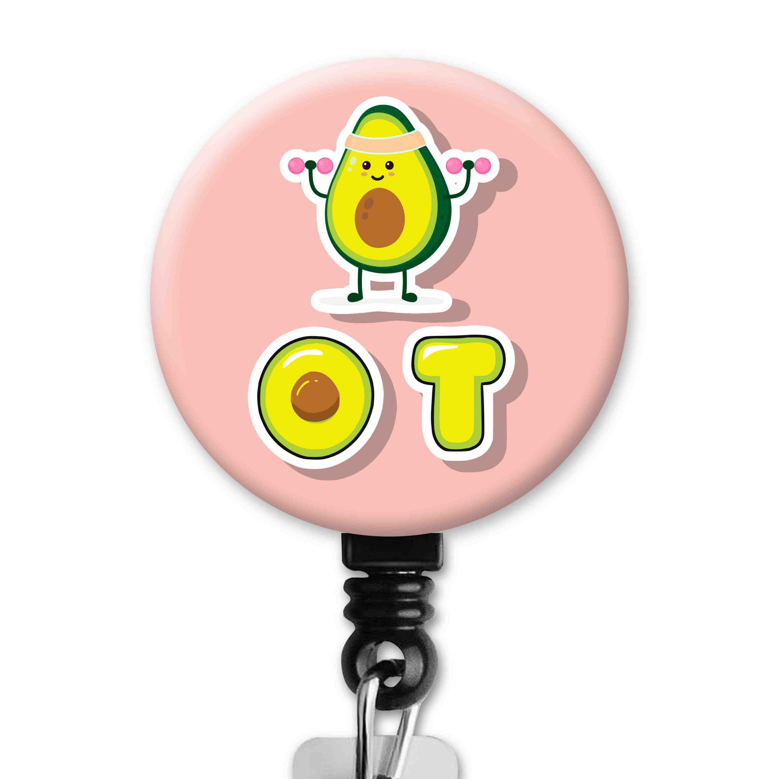 Cute Workout Avocado Occupational Therapy Badge Reel