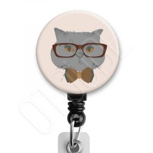 Hipster Cat Badge Reel Product Image