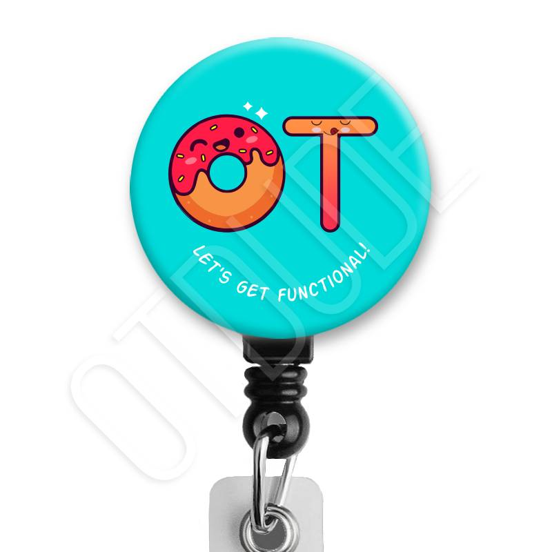 Kawaii Cute Donut OT - Occupational Therapy Badge Reel