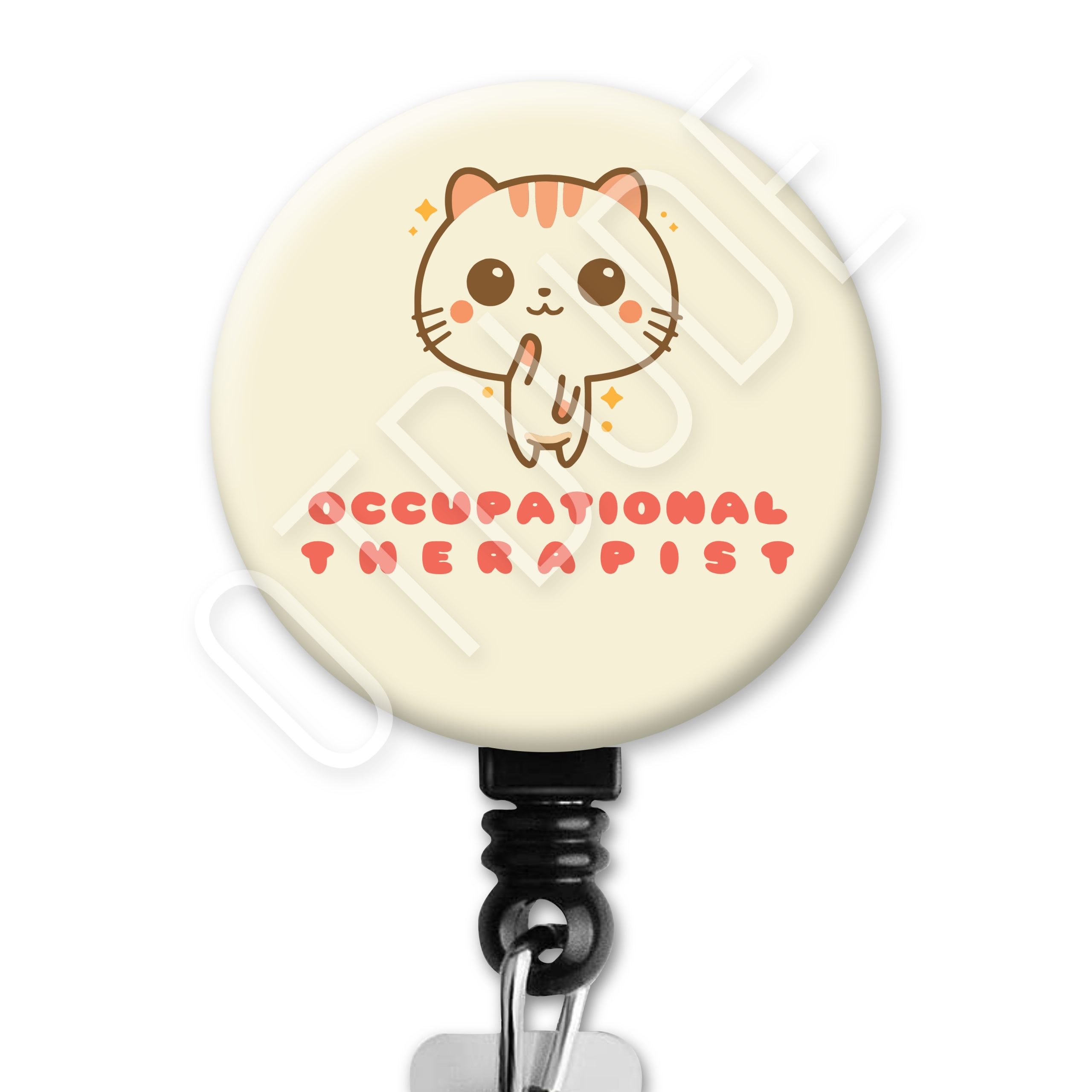 Kawaii Sparkle Cat Occupational Therapy Badge Reel