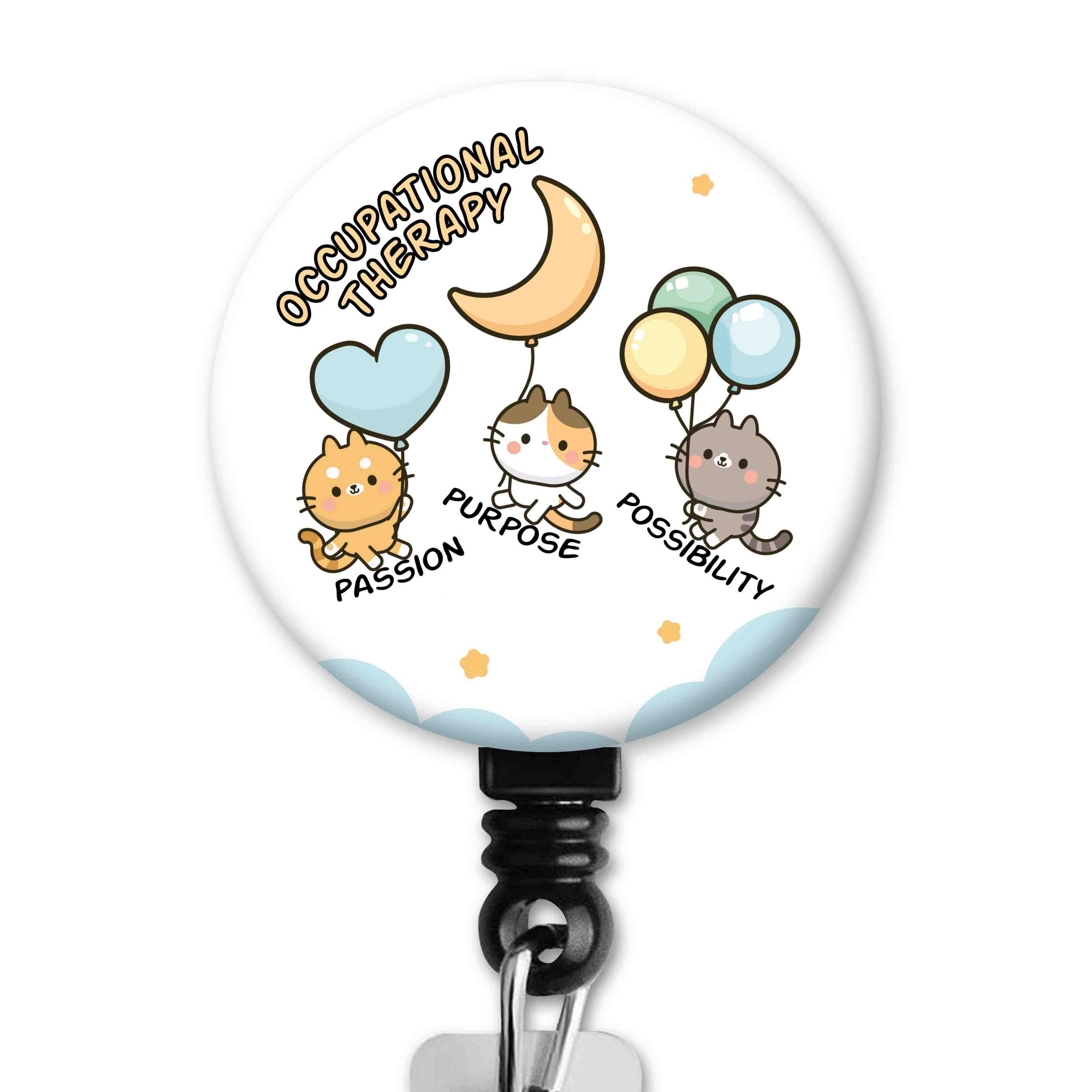 OT Month 2021 Cute Cat Balloons Occupational Therapy Badge Reel