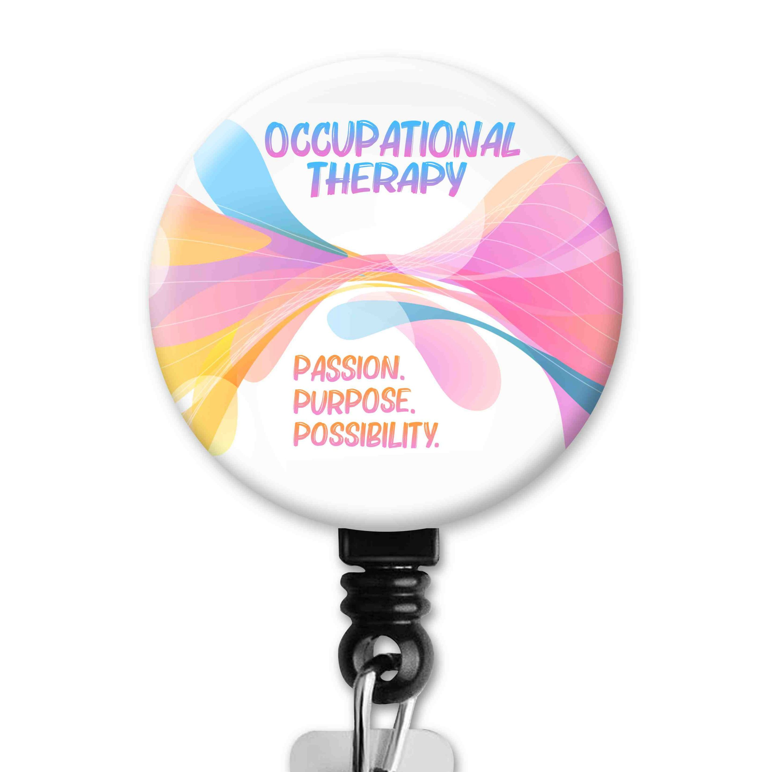 OT Month 2021 Rainbow Swirl Occupational Therapy Badge Reel
