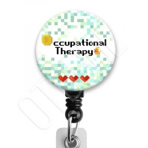 Pixelated Video Game Occupational Therapy Badge Reel Product Image