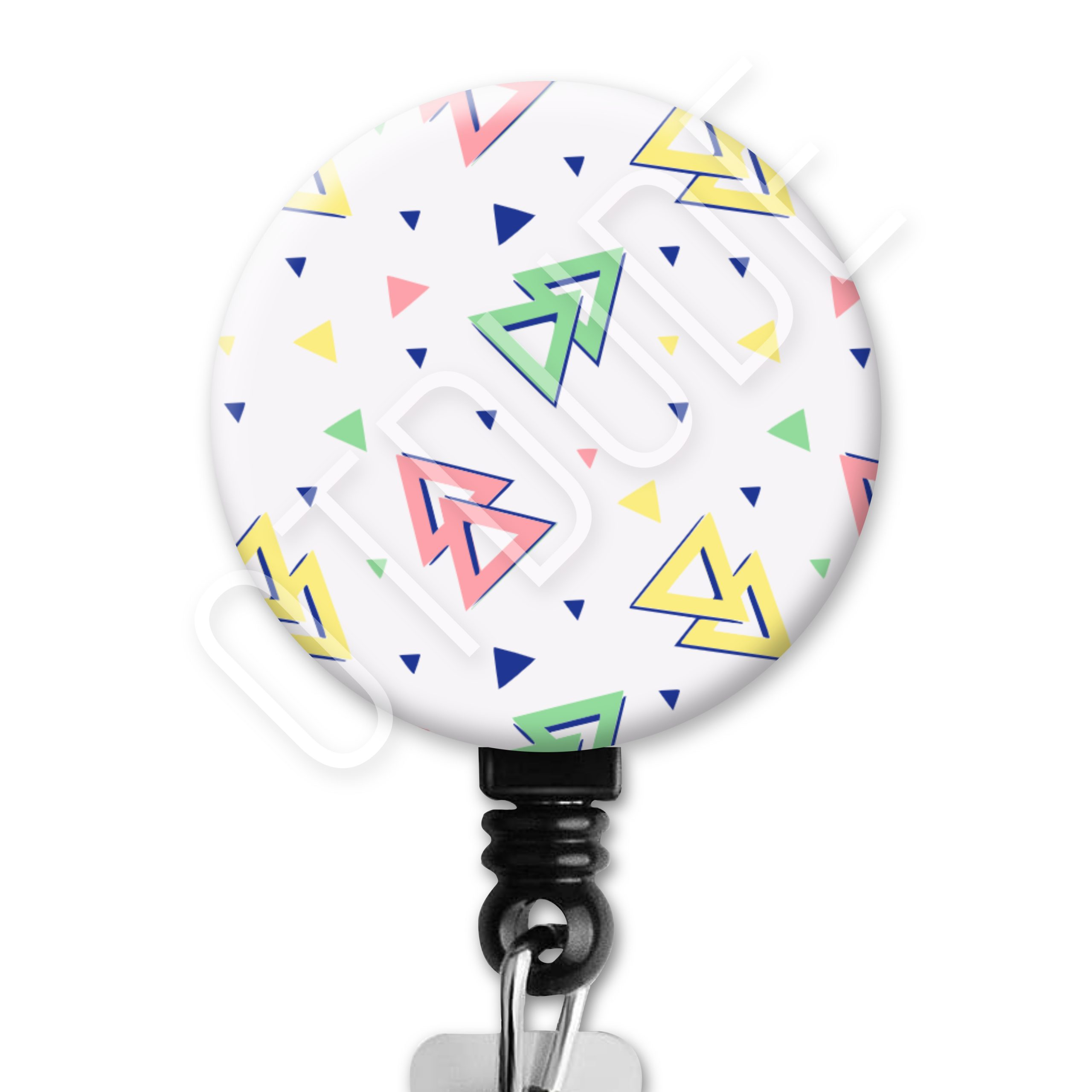 Memphis Pattern Badge Reel