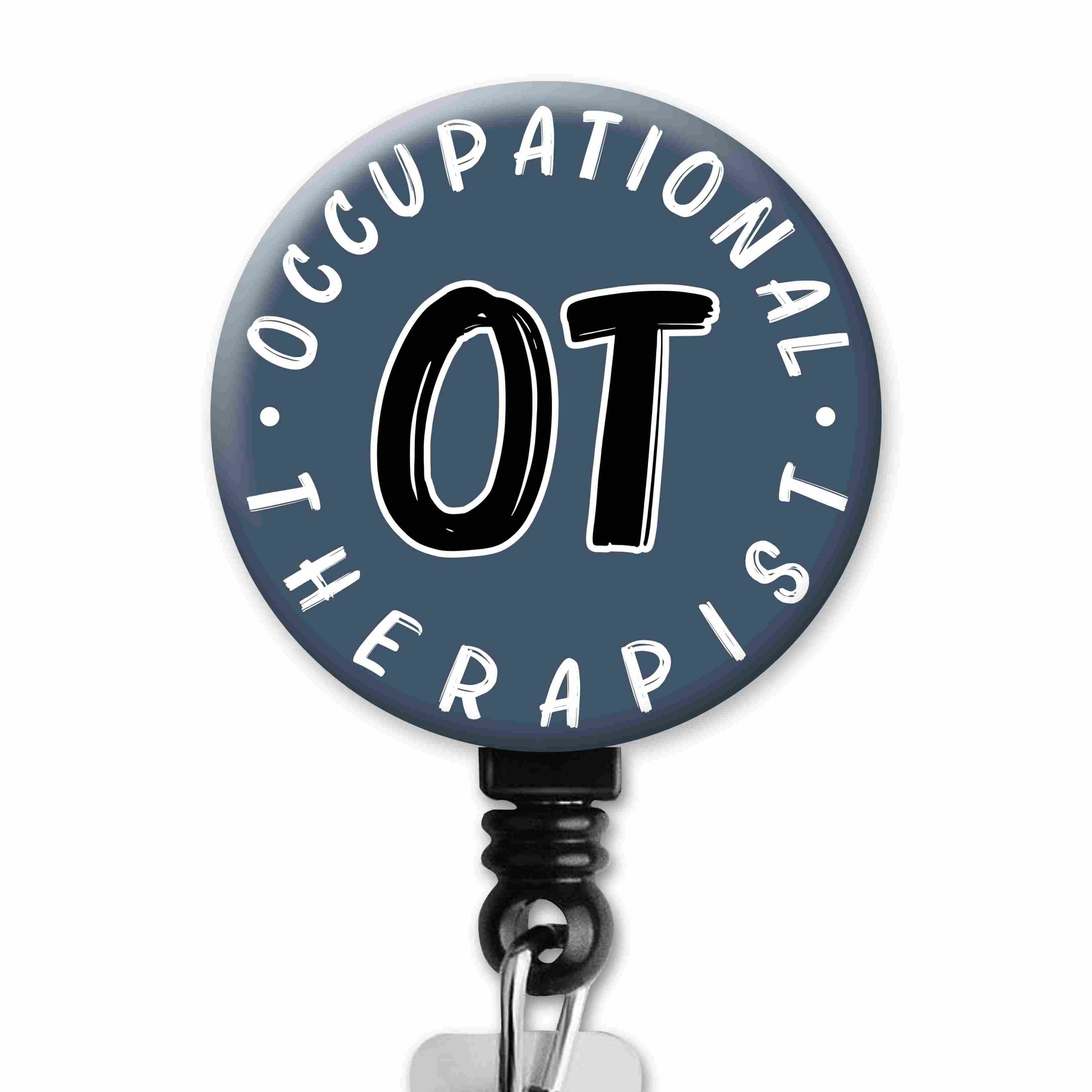 Simple Blue OT Occupational Therapy Badge Reel