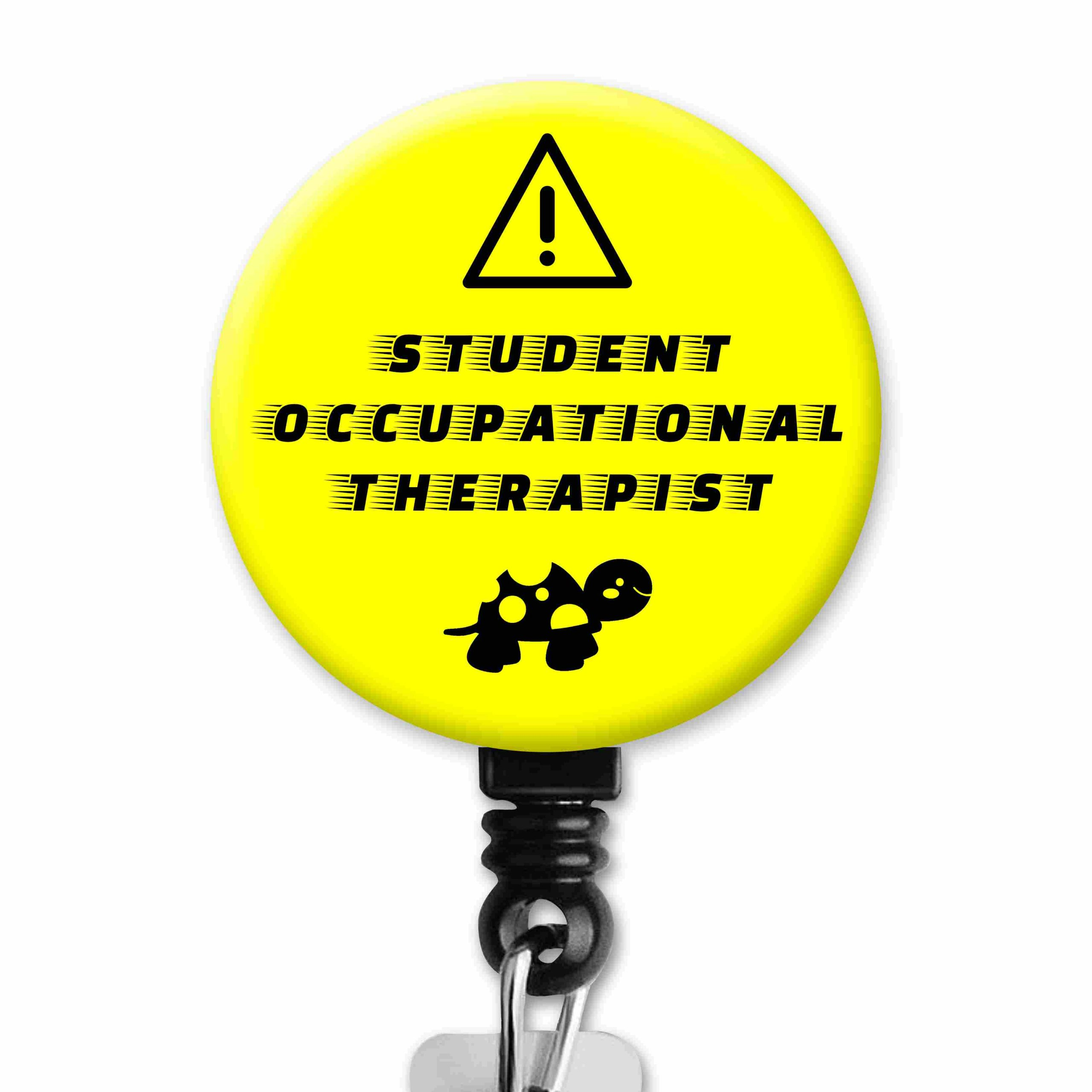Caution Student OT Driver Turtle Occupational Therapy Badge Reel