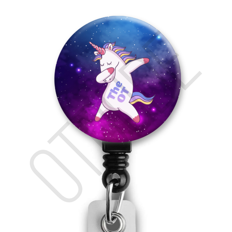 The OT Dab Unicorn - Occupational Therapy ID Badge Reel